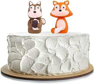 Woodland Fox and Squirrel Figurine Set Cake Topper Baby Shower Decorations (Fox & Squirrel)