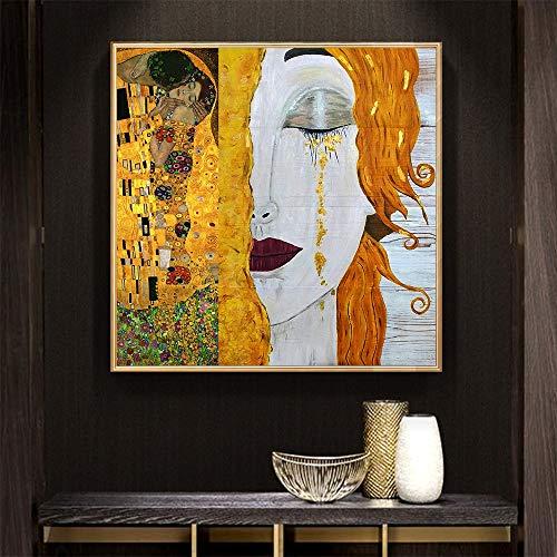 No frame xdr gouden tranen Gustav Klimt schilderijen Reproductie olie op canvas Gedrukt olieverfschilderij mooie vrouw kunstwerk 50x50cm