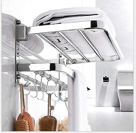 Inodoro Toallero de Pared Moderno Plegable Doble toallero de Acero Inoxidable Soporte de Barra de Almacenamiento de Estante de Toallas con pr/ácticos 5 Ganchos de Ducha para ba/ño Cocina