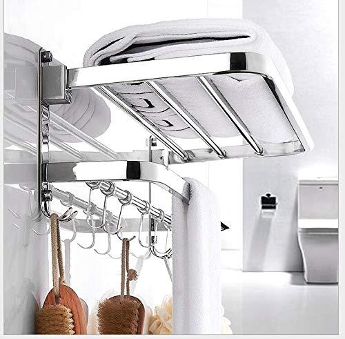 Toallero para Baño Acero Inoxidable Toalleros De Barra Toallero De Pared Estante Gancho Repisas De Toalla Plegable Towel Racks Bathroom Towels Holders,80cm
