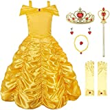 JerrisApparel Princess Dress Off Shoulder Layered Costume for Little Girl (6 Years, Yellow with Accessories)