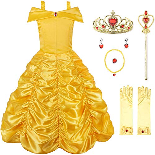 JerrisApparel Princess Dress Off Shoulder Layered Costume for Little Girl (8, Yellow with Accessories)