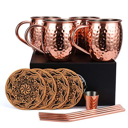 Eligara Moscow Mule Becher Kupferbecher Gehämmert und Handgefertigt Kupfertassen mit 4 Gläsern, 4 Untersetzer, 4 Trinkhalme, 1 Messbecher, Bier, Gin, Vodka, Cocktails und Wasser genießen