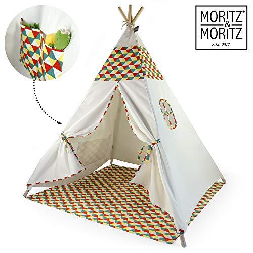 Moritz & Moritz Tipi Zelt für Kinder - Bunt - Kinderzelt Spielzelt Geschenkidee - Mit Bodendecke und Fenster - Für Haus und Garten
