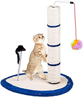 Gluckluz Cat Scratching Post Scratch Tree Scratcher with Toy for Large Small Cats Kittens with Toy Sisal Furniture Protect...