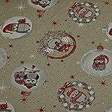 Dekostoff Weihnachten, Eulen, Leinenoptik, beige (50cm x