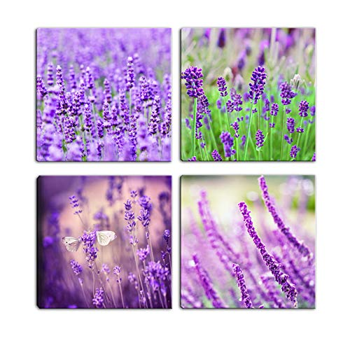 Artsbay 4 Panel Modern Canvas Wall Art Flower Purple Lavender Picture Painting Home Bathroom Decor Giclee Print Stretched Ready to Hang