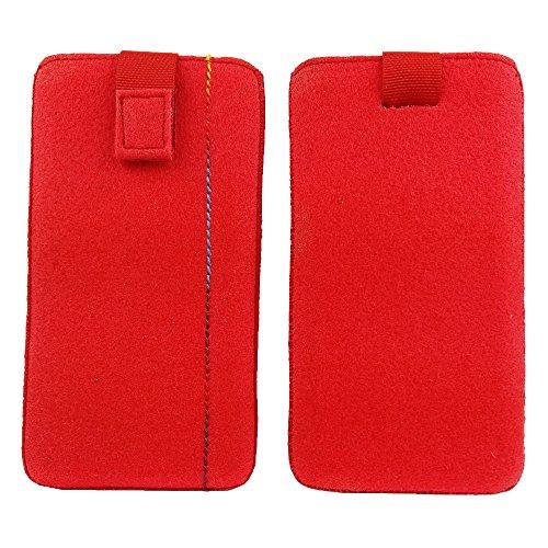 handy-point 5,0'' Filztasche Tasche Hülle aus Filz für Samsung, iPhone, Sony, Lenovo Moto, Huawei, Alcatel, Gigaset, Medion, Neffos, Geräte mit Max.14,2x7,3xx1cm (Rot)