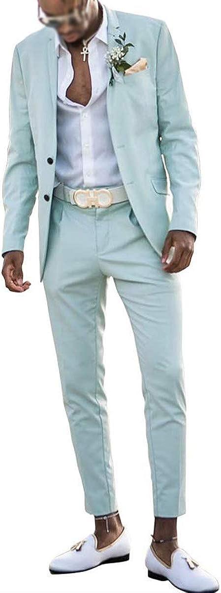 RONGKIM Men's Fashion Mint Green Slim Fit Wedding 2 Pieces Blazer Beach Groomsmen Formal Prom Suit