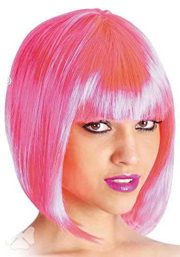 Perruque Pin Up 60's 70's 80's - Frange - Synthetique - Rose - 2582