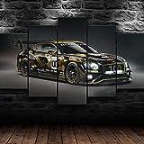 IKDBMUE Cuadro En Lienzo Imagen Impresión Pintura Decoración Cuadro Moderno En Lienzo 5 Piezas XXL 150X80 Cm Enmarcado Murales Pared Hogar Decor Continental GT3 Racing Car