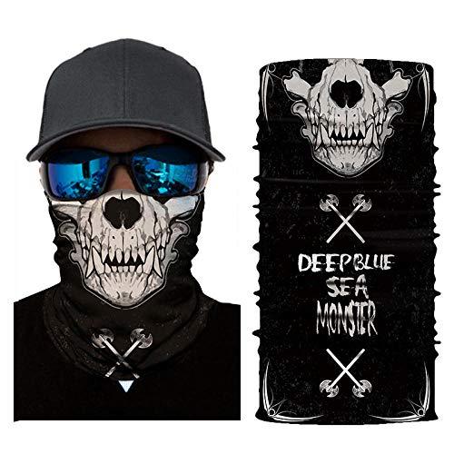 QIANWEIXI Naadloze bandanas 3D bivakmuts Magic Scarf motorfiets Ghost Skull tactisch skiën motorfiets bandana motor head helm zon