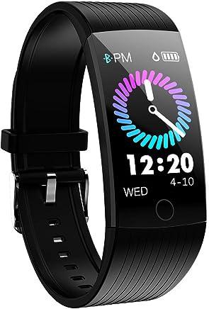 Montre Connectée, Bracelet Connecté Cardiofréquencemètre Femmes Homme,Tracker dActivité Écran Coloré Cardio