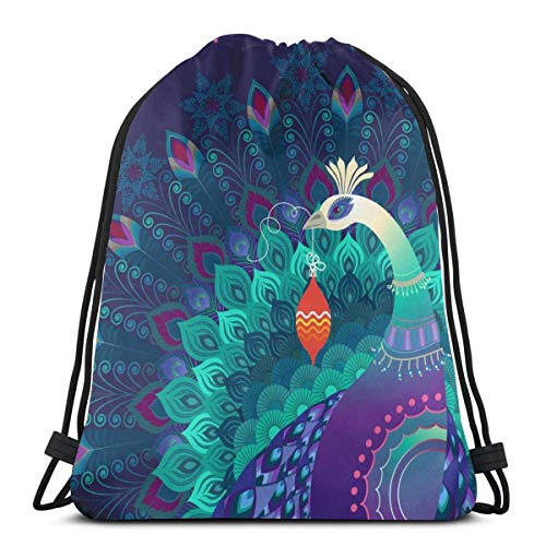 XCNGG Bolsa con cordón Bolsa con cordón Bolsa portátil Bolsa de gimnasio Bolsa de compras Beautiful Colorful Magic Peacock Bird Holds Christmas Ornament Multicolor Drawstring Backpack, Sports Cinch Sa