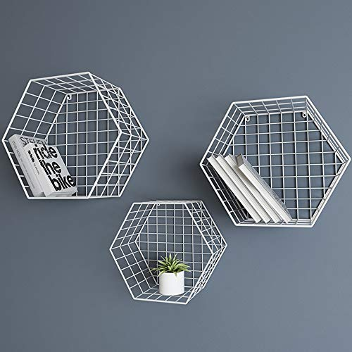 LMWLT Estantes Flotantes Hexagonales De 3 Piezas, Estantes D
