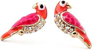 Bejeweled and Enameled Lovebird Post Earrings