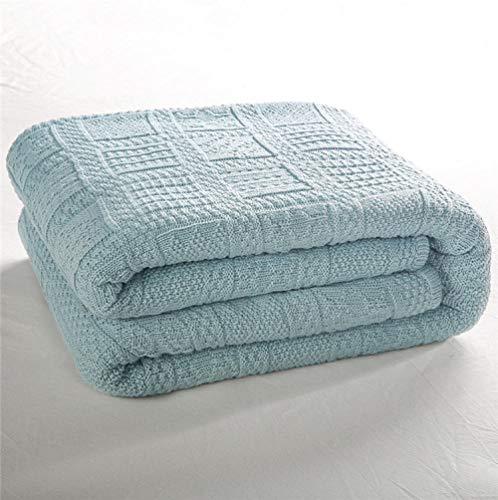 FRTU Manta Suave y cálida para sofá Cama,Mantas de sofá, Mantas de Punto, Mantas de Aire Acondicionado, Mantas de Siesta de Oficina, Azul_130 * 160cm