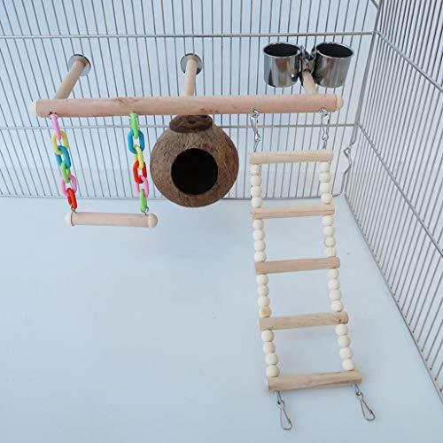 Bird Playground Birdcage Parrot Playstand Juguete Loro, Juguete Para Pájaros, Columpio, Escalera, Juguete De Combinación De Taza De Comida Para Nido De Pájaro, Parque Infantil En La Jaula Juego De 5 P