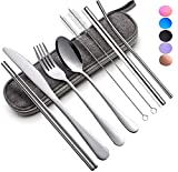 Reusable Utensils Set with Case Portable Travel Utensils Cutlery Set Stainless Steel Flatware Set for Camping 8pcs Including Dinner Knife Fork Spoon Chopsticks Boba Straw (Silver)