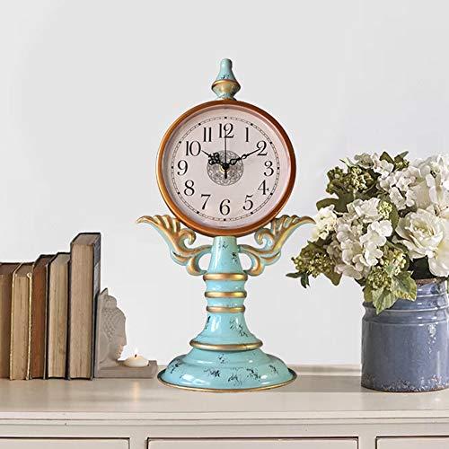 WANGXINQUAN Reloj retro para sala de estar, adornos de metal, para sala de estar, dormitorio, reloj de mesa (25 x 44,5 cm)