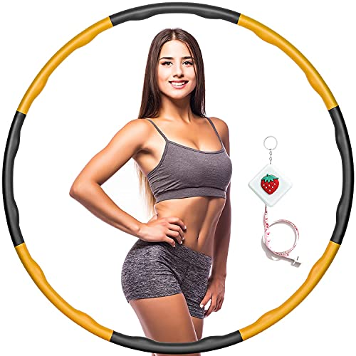 Aro de fitness para adultos y niños, círculo de hula con peso para bajar de peso y masaje, 8 piezas de aro ajustable de ejercicio para fitness, entrenamiento, deporte, hogar, gimnasio (naranja)
