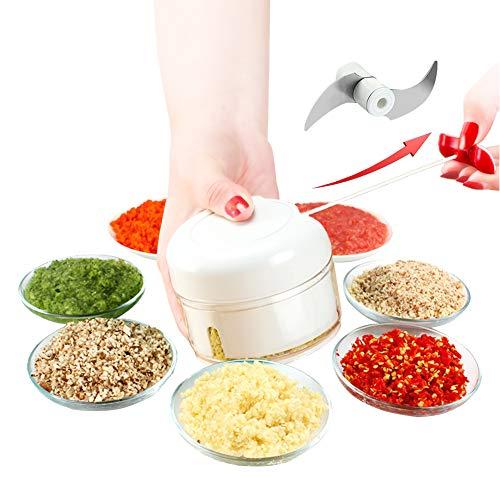Handmatige Voedselhakker, Handgehakte Knoflookmolen/Blender om fruit te hakken/Groenten/Noten/Kruiden/Uien/Vlees/Salade/Pesto/Koolsalade/Puree/Kruiden/Specerijen/Chili