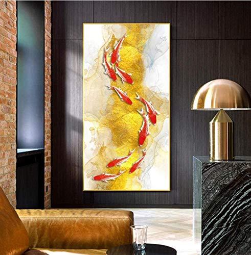 Koi Fish Feng Shui Carp Lotus Pond Imágenes Carteles e impresiones al óleo Arte de la pared Cuadros en lienzo para la sala de estar Decoración del hogar Regalo -60x100cm Sin marco