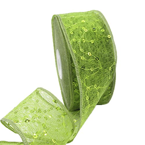 "1.7"" Wide x 25 Yards Sequins Double Layer Embroidery Organza Ribbon Lace Trim for Decoration DIY Handmade Accessories (Green)"
