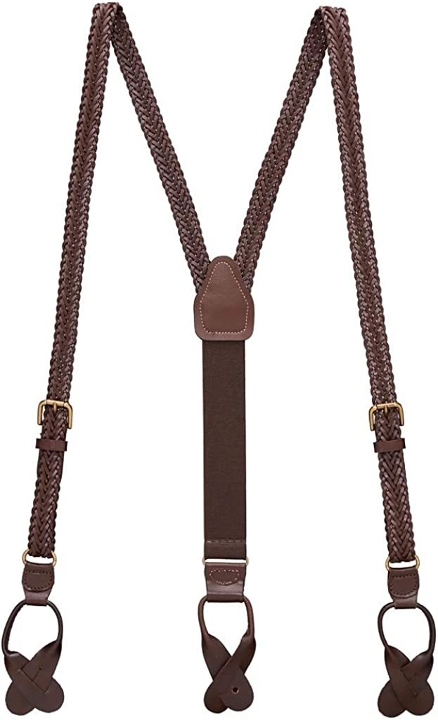 SuspenderStore Men's Herringbone Braided Leather Suspenders - Button