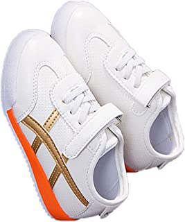 Hopscotch Baby Boys PU Lace Applique Sneaker in Gold Color