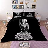 Duvet Cover Sets 3D Marilyn Monroe Printing Christmas Child Adult Bedding Set 100% Polyester Duvet Cover 3 Pieces with 2 Pillowcases G-US King264228cm