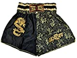 wifash Pantalón Corto de Boxeo tailandés, Talla M, Muay Thai, Color nego/Dorado, Fabricado e Importado de Tailandia (42580)