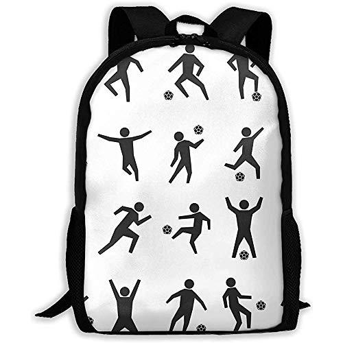 Lmtt Rucksack Set Strichmännchen von Fußballspielern Bookbag Lässige Reisetasche für Teen Boys Girls