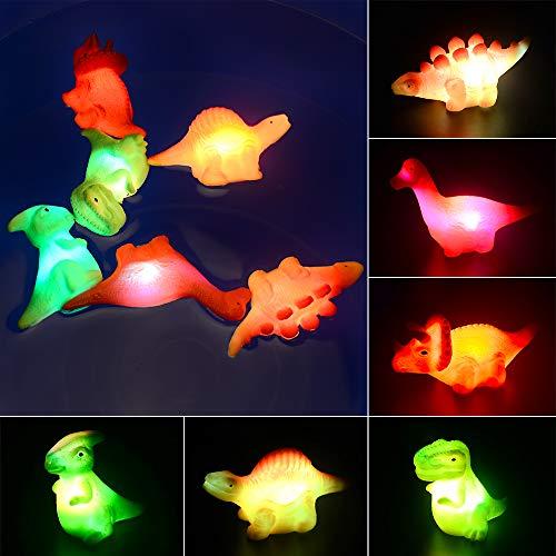 MMTX Baby Badespielzeug, Leuchtendes Badewannenspielzeug Wasserspielzeug Dinosaurier Baby Bade Schwimmen Badewanne Pool Spielzeug Für Baby Kleinkinder Jungen und Mädchen (mit LED Lichtereffekt)