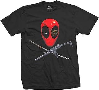 Deadpool Disegno Marvel T-Shirt Katana per Gli Appassionati di Fumetti con Licenza di Cotone Bianco