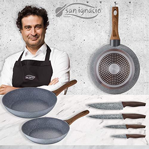 San Ignacio 3 Sartenes 20/24/28 + Set Cuchillos, Daimiel, Aluminio Forjado, Inducción, Gris