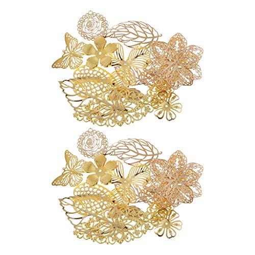 non-brand 34 pcs Filigrane Deko Blätter Charms Pfauenfeder Retro Anhänger Beads für Halskette zum basteln