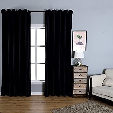Dreaming Casa Solid Room Darkening Blackout Curtains For Bedroom Draperies Window Treatment 2 Panels Black Grommet Top 2(42  W x 84  L)