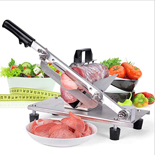SHIJIAN Manuelles Gefrorenes Fleisch-Schneideschneidemaschine Rindfleisch Slicer Rolle Fleisch Gemüseschneider Fleischkäse Fleischschneidemaschine for Hot Pot BBQ Heim Edelstahl