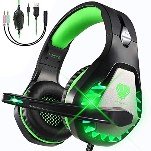 Cascos Gaming para PS4 PS5 Xbox One Nintendo Switch Laptop PC, DIWUER Auriculares Gaming con Microfono con Sonido Envolvente y Cancelación de Ruido, 3.5mm Jack y Luz LED