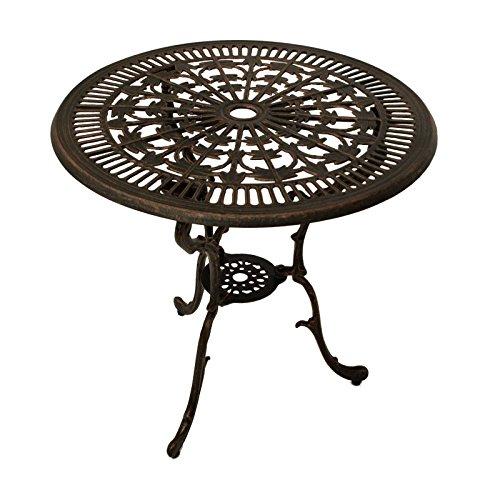Gartentisch LUGANO 70cm rund, Aluguss bronze antik jugendstil Gartenmöbel Tisch