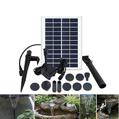 LY-LD Pompe à Fontaine Solaire 5W Libre Debout Eau Fontaine Pompe kit avec 7 différentes têtes de Motif de pulvérisation pour Bain d'oiseau/réservoir de Poissons/Petit étang et Jardin