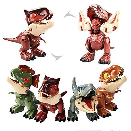 TU BANG SHOU El Juego de Juguetes de Dinosaurio de Qucheng Contiene 4 Dinosaurios transformables, Robot/Dinosaurio, Juguete de Dinosaurio para el Regalo de los niños Dinosaurios indominus Rex