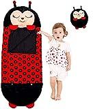 Saco de dormir para niños grande y feliz, saco de dormir 2 en 1 de animales de dibujos animados 180x 65 cm, saco de dormir suave y cómodo, almohadas para sacos de dormir que sorprenden a los niños
