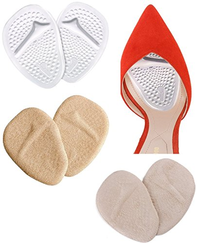 Gel Fuß Kissen Ballenpolster Schuheinlagen für High Heels Gelkissen Schmerzlindernde Pads Antirutsch-Effekt 3 Paar Geleinlagen Schutz vor Blasen Pflege für Damen Fußballen