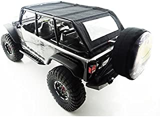 Hot Racing SCX14JST03 Jeep 4 Dr Soft Top Black Orange Rod