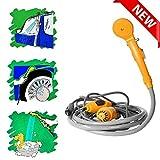 ZYQDRZ Ducha para Acampar, Kit de Bolsa de Ducha eléctrica para Exteriores de 12V, para Viaje, Lavado de Autos, Kit de Bolsa de Agua para Acampar, Senderismo,Amarillo