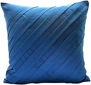 Bleu Turquoise Taies D'Oreiller, Contemporain Oreillers Décoratifs Couvercle, taies d'oreiller 30x30 cm, Faux Suede Plis N...