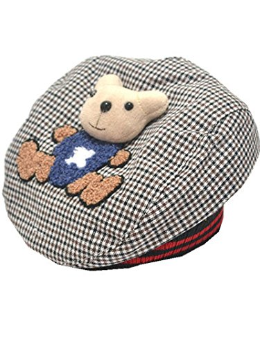 YICHUN Bébé Unisexe Béret Casquette Ours Chaud Bonnet Chapeau de Base-Ball/de Soleil(Tour de Tête :Environ 46cm) (Café)