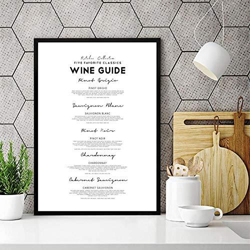 Cartel de la guía del vino Impresiones en lienzo Decoración de la cocina Regalo del amante del vino Cartel en blanco y negro Pintura Bar Restaurante Arte de la pared Decoración 50x75cm Sin marco